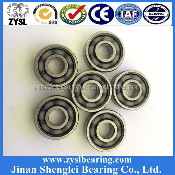 ceramic chrome steel skateboard ball bearing 608 627 6201 6204 with red orange yellow green blue rubber seal