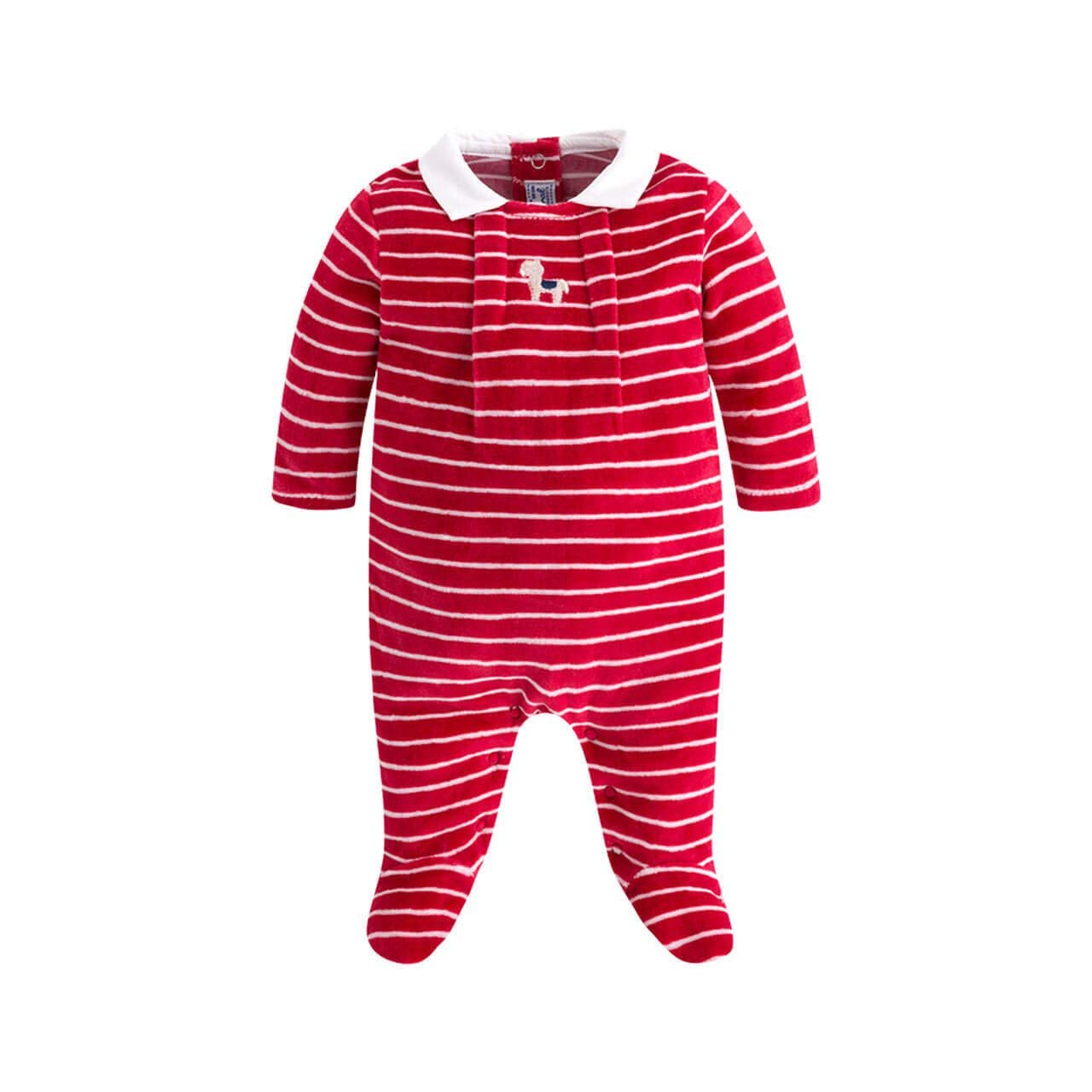 Mayoral Adorable Red Velour Embroidered Bedtime Bear Footie Sleeper