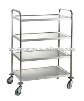 Golden Ware 4 Tiers Stainless Steel Food Service Trolley Cart With Wheels Buy Food Trolleystainless Steel Food Trolleystainless Steel Cart With
