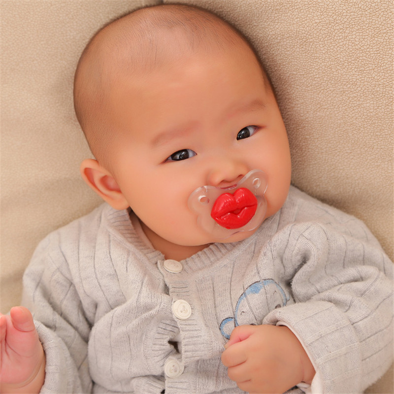Top Silicone Red Lip Funny Nipple Dummy Baby Soother Joke Infant Toddler Pacy Orthodontic Nipples Teether Baby Pacifier Care