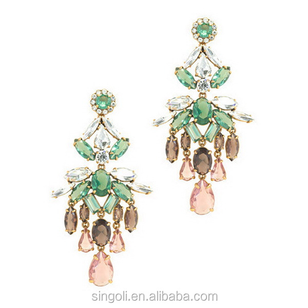 Golden plate and crystal earrings collage crew multi colored transparent diamond chandelier earrings large size jewelry