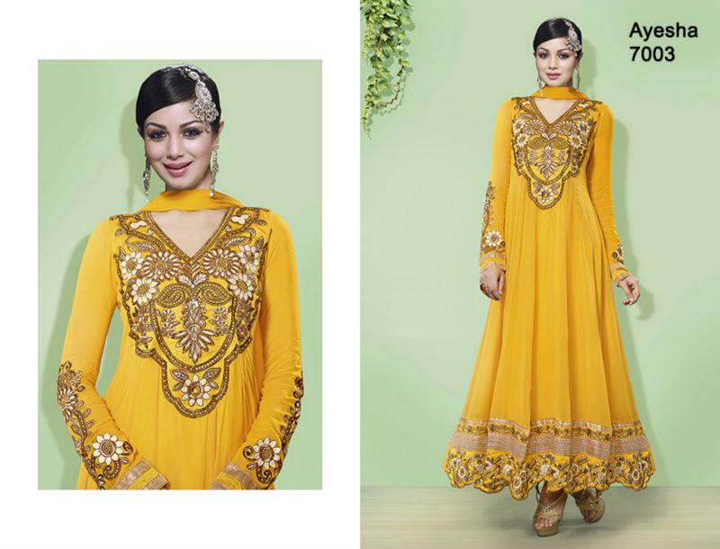 Dark Yellow Pakistani Shalwar Kameez Design For Ladies/women