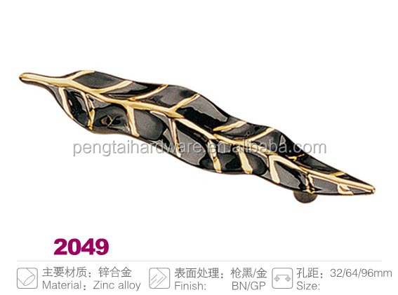 leaf shaped furniture cabinet handle with double colors BN GP