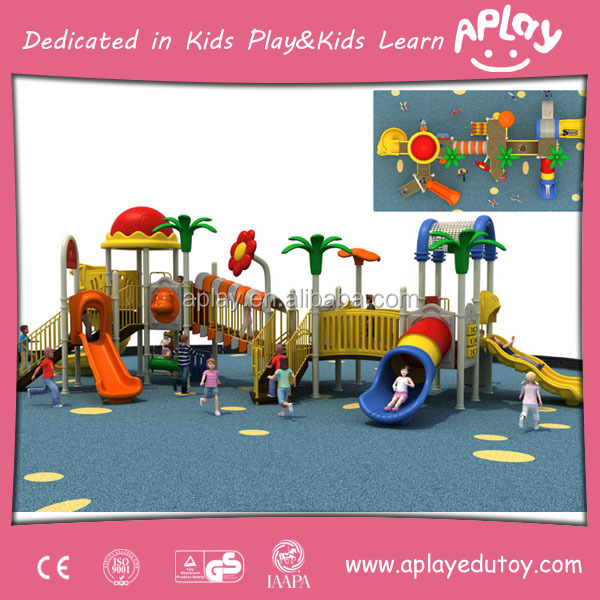 Castle theme outdoor plastic slide set kindergarten child play playground equipment