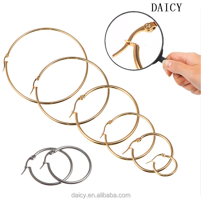 DAICY cheap wholesale simple exaggerated big gold stainless steel hoop earrings
