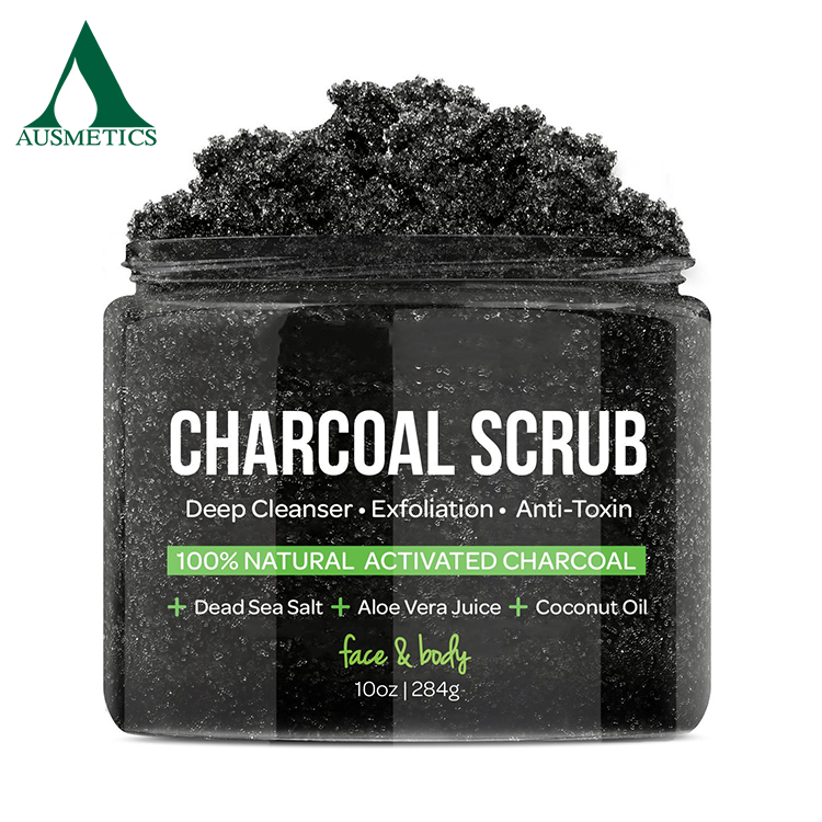 OEM natural detoxifying charcoal foot scrub Beauty skin care coconut charcoal scrub