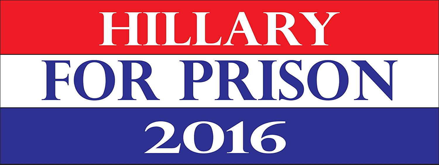 Hillary For Prison 2016 3x8 Magnet - Cars Trucks SUVs