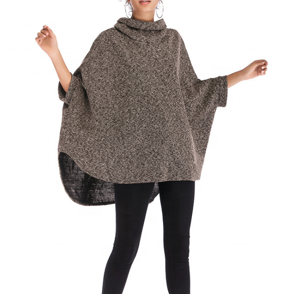 Fashion Loose Women Turtleneck Irregular Poncho фото