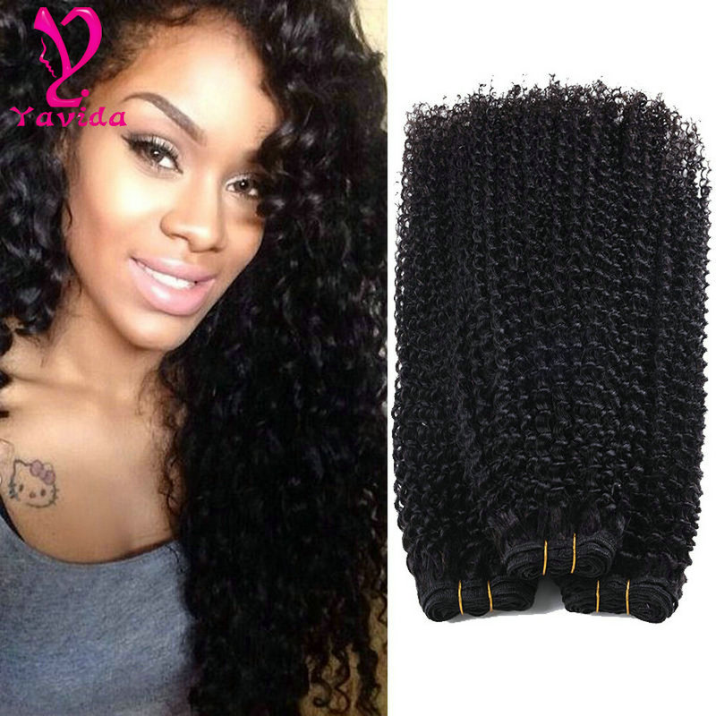 Hot Sale 8-26inch Malaysia Hair 3 Bundles Kinky Curly 100% Unprocessed Virgin Human Hair Extension 100g /per Bundle Weave, Natural color #1b can be dyed any color