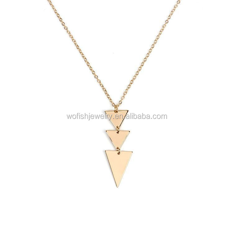 Gold plating small triangles stacking necklace