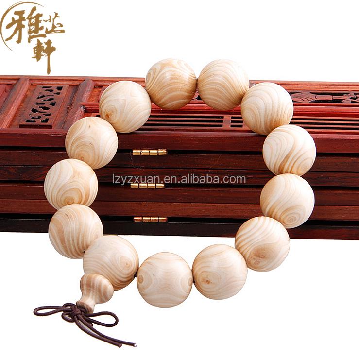 natural y saludable de marfil madera grano redondo pulsera para los hombres como regalo