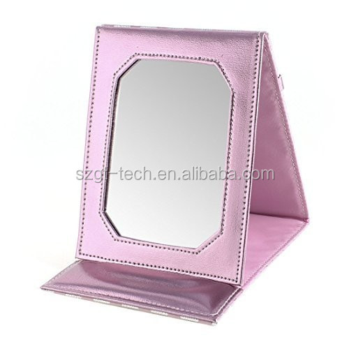 Cosmetic Makeup Leather Fold Mirror Compact Travel Portable Small Mirror
