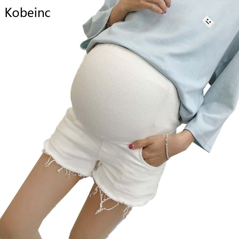 White Demin Care Belly Short Pants For Pregnant Women Summer Solid Burrs Maternity Jeans 2016 New