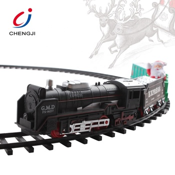 Most Popular kids toy plastic electric classic christmas train set with music and sound