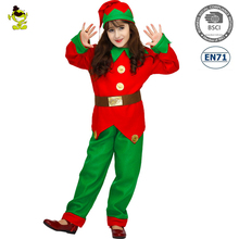 Girls Elf Costumes Kids Christmas Carnival Party Fairy Role Play Suits Loveable Red&Green Elfin Decoration Clothes