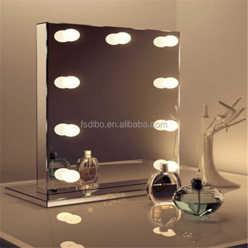 Aluminum Hollywood Mirror With Light Bulbs Led Desktop Wall Mounted