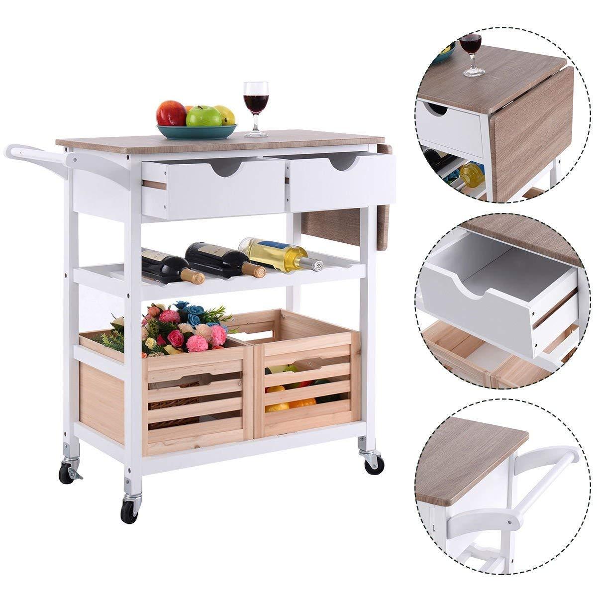 Costway Rolling Kitchen Trolley Island Cart Drop-leaf w/ Storage Drawer Basket Wine Rack