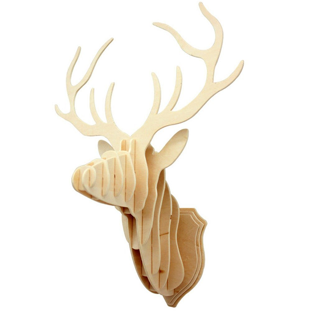 Crazy 3D DIY Wooden Puzzle Animal Head Jigsaw Wooden Craft for Home Decoration Wall Hanging, Reindeer Head-deer
