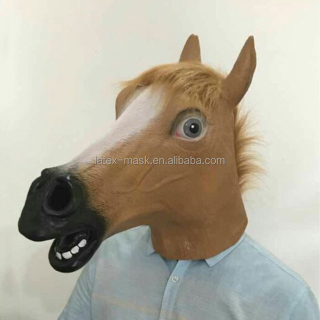 halloween horse head animal mask soft plastic mask