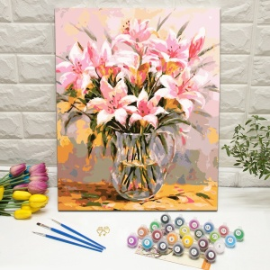 Pink lilies in a glass vase DIY Framed Wall Art for Living Room paint by numbers kits
