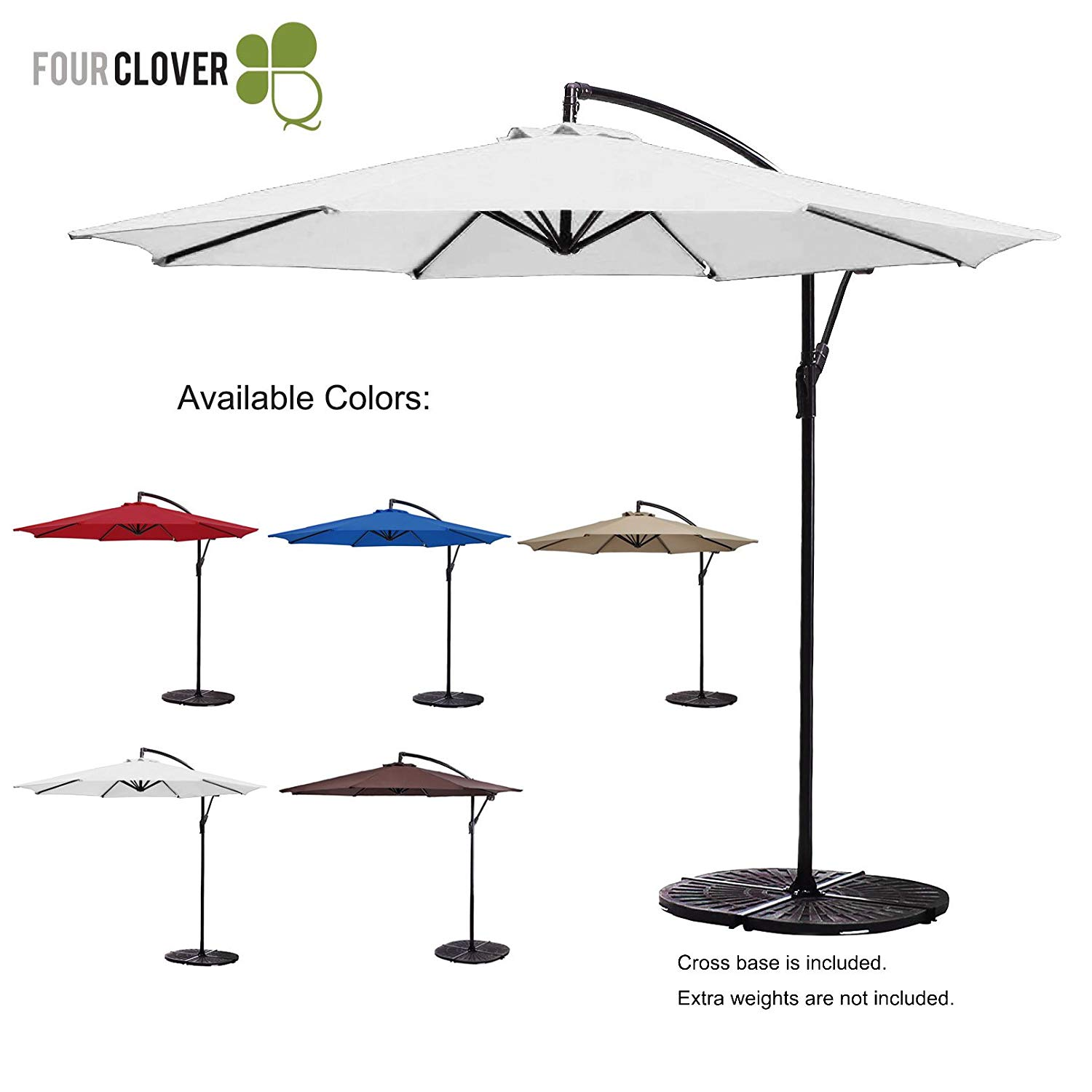 FOUR CLOVER 10 Ft Patio Umbrella Offset Hanging Umbrella Outdoor Market Umbrella Garden Umbrella, 250g/sqm Polyester, with Cross Base and Crank (White)