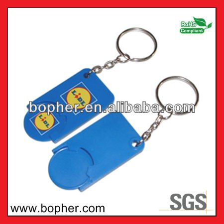 plastic mini supermarket trolley coin keychain