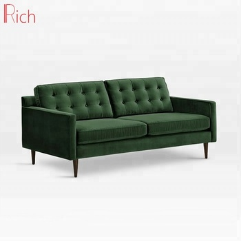 2 Seater Green Velvet Loveseat Sleeper