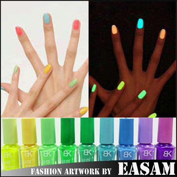 Bk Hot 7ml Glow In The Dark Nail Polish With 20 Colors - Buy Glow In ...