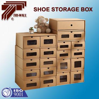 Foldable Shoe Valet Box With Window Paper Cardboaard Kraft Household Storage  Box