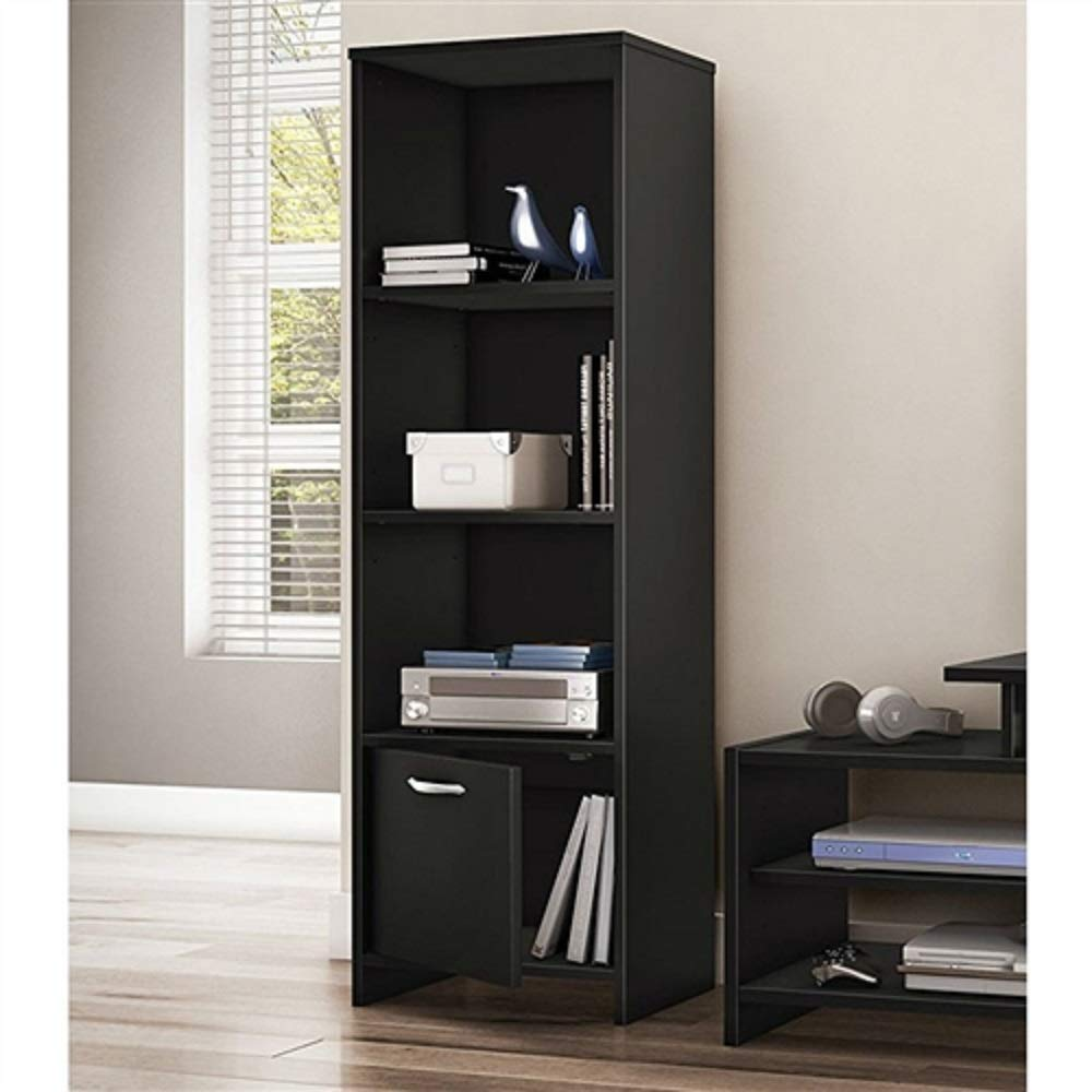 MyEasyShopping Modern Bookcase with 3 Shelves & Bottom Door in Black Adjustable Display Shelving New Furniture