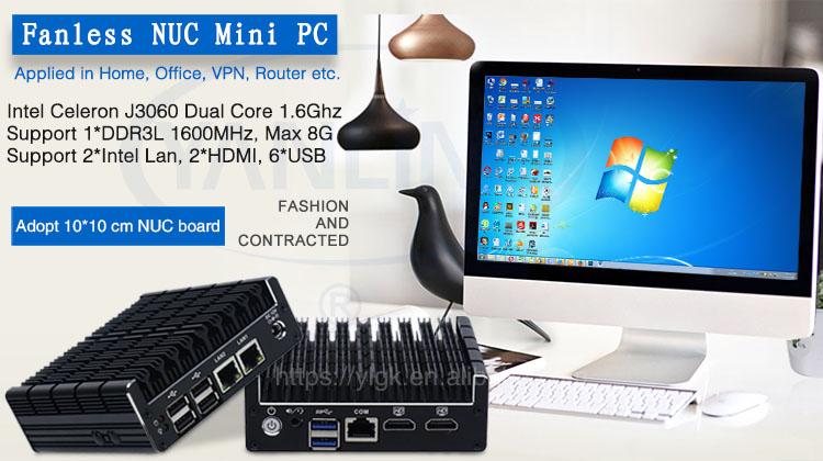 Best Pocket Mini PC Router Intel Celeron J3060 Dual Core Pfsense Firewall  Fanless Computer Support AES-NI/WiFi, View industrial Desktop computer,