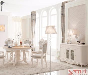 Romantische Weiße Möbel Marmor Runde Esstisch Und Stühle Im