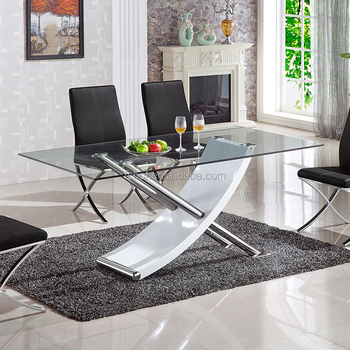 Muebles Para El Hogar Moderno X Forma Piernas Vidrio Templado Mesa De  Comedor Diseños Gd006 - Buy Ajustable Mesa De Cristal,Vidrio Banquete,Mesa  De ...