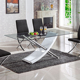 modern home furniture x shape legs tempered glass dining table designs GD006