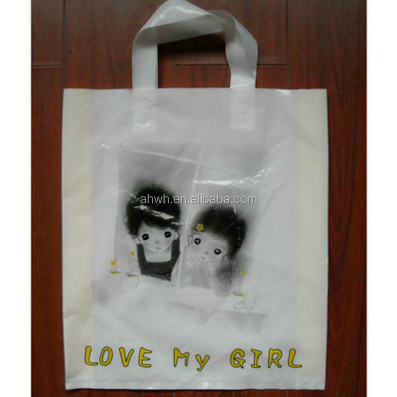 offset customized printing soft loop handle plastic shopping/promotion bag