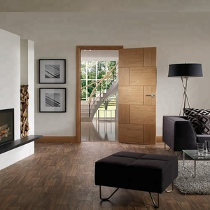 2018 New Design Modern oak wood Simple Wooden Swing Interior Door with door lock