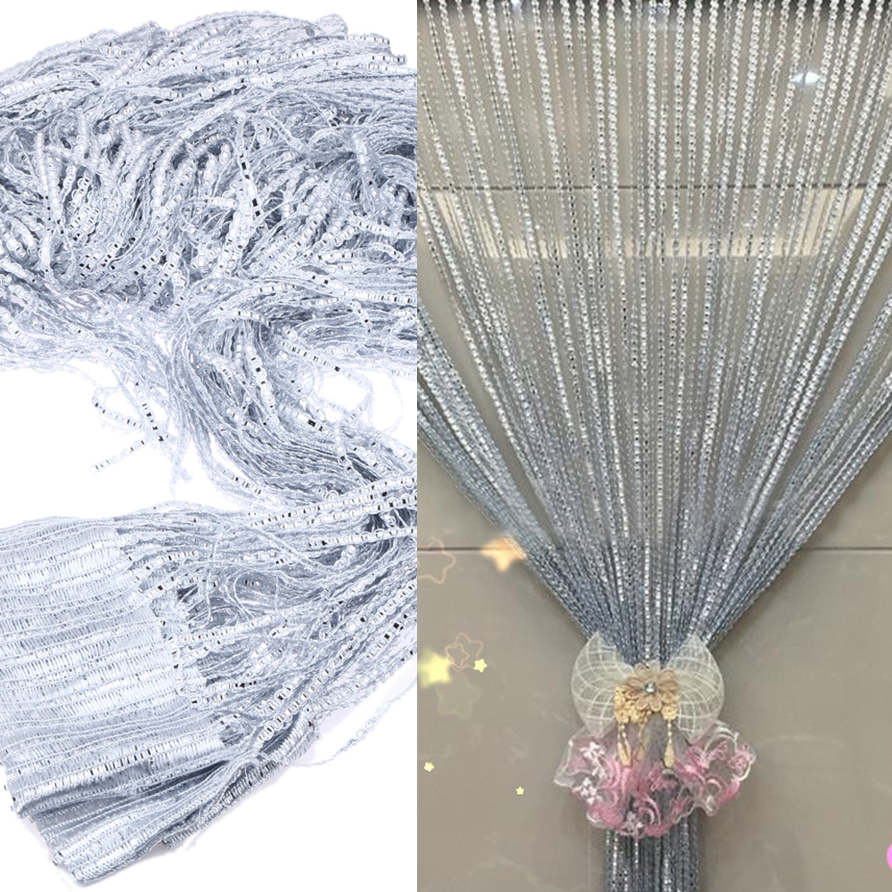 2019 1 2m Crystal Bead Curtain Polyester Silver Leather