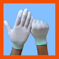 White PU Top Fit Assembly Work Gloves For Small Parts