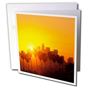Danita Delimont - Peter Bennett - California - Los Angeles Skyline, California, USA - 1 Greeting Card with envelope (gc_191702_5)