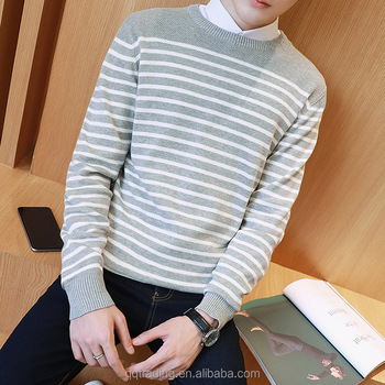 2017 Autumn Pullover Long Sleeves Normal Black White Striped Men