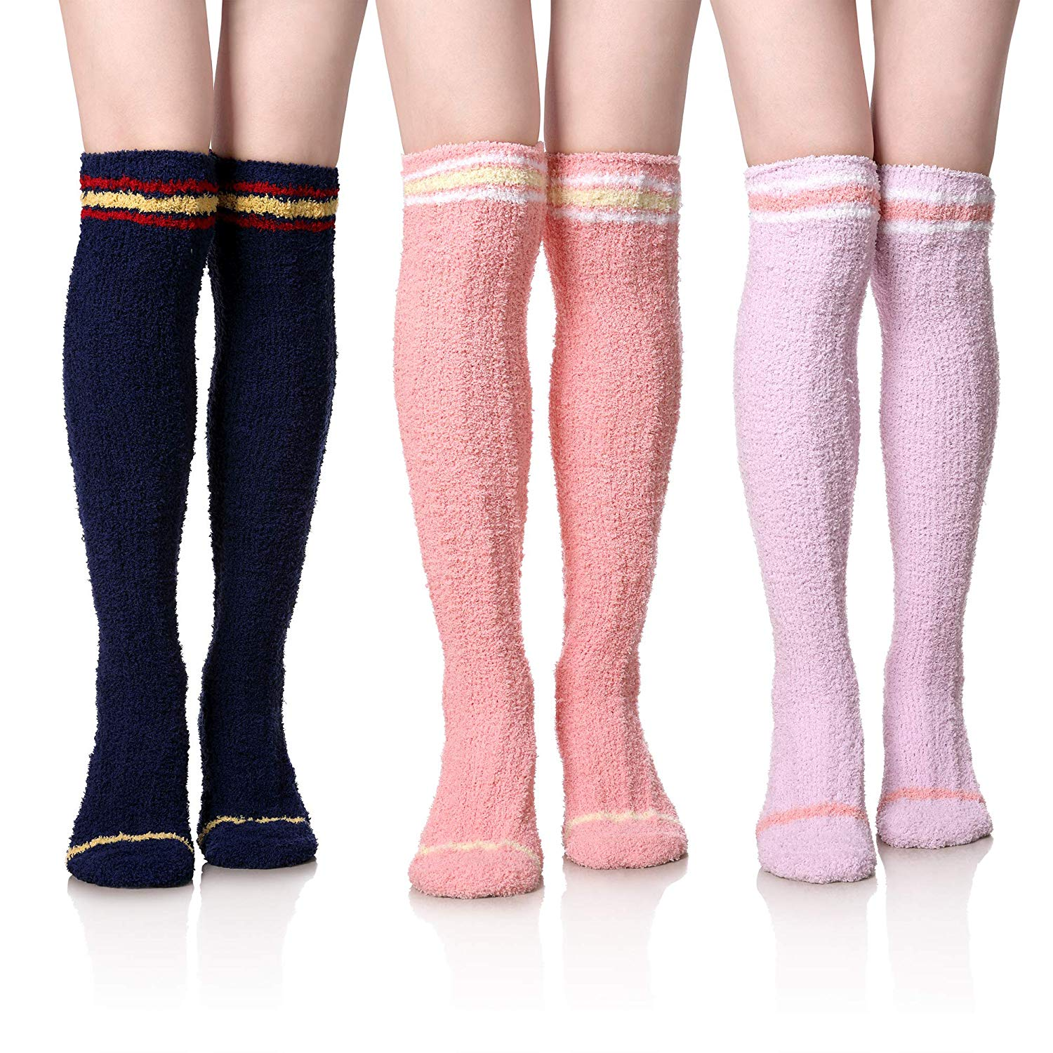 b4505c618 Get Quotations · Womens Girls Soft Warm Over The Knee High Stockings Winter  Plush Fuzzy Socks