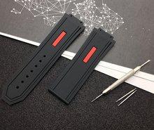Роскошный брендовый черный ремешок для часов 29*19 мм из натурального силикона и резины, ремешок для часов Hublot, ремешок для серии king power с инстр...(Китай)