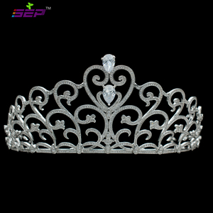 Crystals Full Cubic Zirconia Heart Bridal Wedding Tiara Crown Hair Jewelry Accessories Pageant Headpiece TR15119
