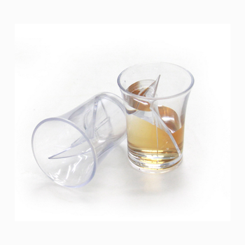 2oz Mini Whisky Cup Unique Shaped Double Twist Small Plastic Shot Glass