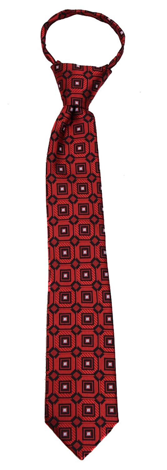 Boys Red and Burgundy 14 inch Zipper Necktie pattern Pre-made Zip Ties for boy's