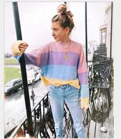 Autumn 2018 winter contrast color pullover sweater European American fashion loose multicolour Knitted women sweater