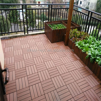 Easy Click Wooden Square Composite Decking Floor Interlocking Tiles ...