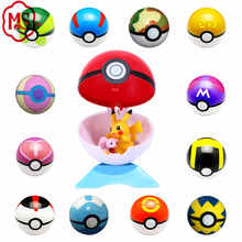 9 Pieces Different Style 7 cm pokeBall with 9 Pieces Figures Plastic Super Anime Figures Balls for Pokemon Kids Toys Balls