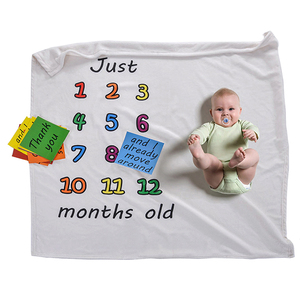 Baby Milestone Blanket for Newborn Photo Props, Monthly Growth Tracker, Baby Shower Gift for Baby Boy & Girl