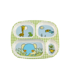Jump Baby Messy Carton animals Melamine 4 Divided Toddler Dinner Plate